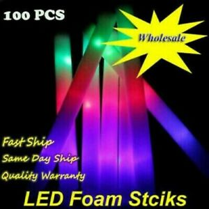 100PCS Light Up Flashing LED Glow Stick Foam Wands Rave DJ Batons Party DJ Stick