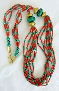 Artisan Statement Necklace Multiple Strand of Red Coral & Faux Turquoise Beads