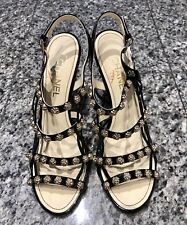 CHANEL Camellia Black Strappy Sandals Heels
