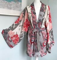 EAST Pink Grey Floral Kimono With Belt L UK 16 18 Cover Up Relaxed Summer Beach