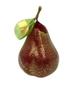 Murano Blown Glass 3 inch Pear, Red with Gold Foil, Glass Fruit, Made in Italy