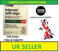 12GB Pre-loaded Data SIM Card Three Pay-As-You-Go For Mobile Broadband Devices