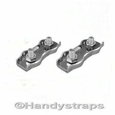 2 x 4mm Stainless Steel Duplex Wire Rope Grips Clamp Chandlery Marine Sailing