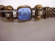 Flli Menegatti signed Venetian Glass Intaglios Bracelet 18k gold,Sterling Silver