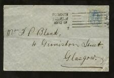 SPAIN MARITIME PLYMOUTH PAQUEBOT MACHINE CANCEL on COVER to SCOTLAND 1911