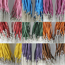 New Lots 20pcs Solid Lobster Clasp Faux Leather Cord Necklace 2.0mm 10Colors