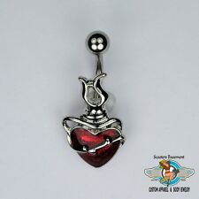 Sacred Heart Belly Ring Bar Shimmery Heart and Barbed Wire Navel Ring 14G (A20)