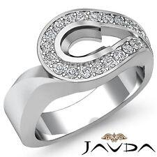Oval Semi Mount Diamond Engagement Unique Ring Platinum 950 Halo Pave Set 0.5Ct