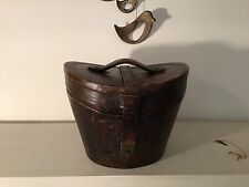 Antique Victorian Leather Hat Box With Working Lock & Key