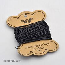 10m Black Cotton Wax Bead Cord String Thread For Bracelets Making 1.2mm