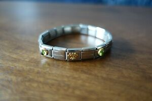 Nomination Bracelet with Green Birthstone August Peridot and Fleur de Lys