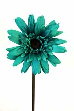 "Artificial Flowers -Giant Teal Silk Gerbera 6"" Dia on 60cm Stem - Arrangement."