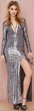 NASTY GAL Silver Hustle Sequin Sparkle Disco Low Open Back Plunge Slit Dress S 4