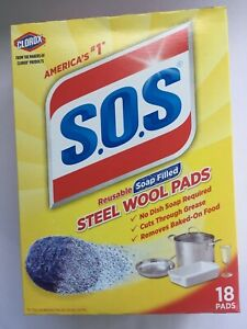 SOS CLOROX 18 PACK Reusable soap filled STEEL WOOL PADS, NEW w/ FREE SHIPPING!