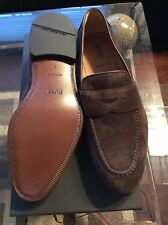 NEW Authentic Hugo Boss Men's Slip On Driver Loafer Suede Brown 7.5 8 $415