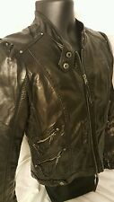 Bagatelle Black Faux Leather Zipper motorcycle jacket Size S   Lots of zippers!