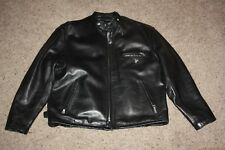 Men's Schott 141 Cafe Racer Black Leather Jacket Size 44 46 excellent zip liner