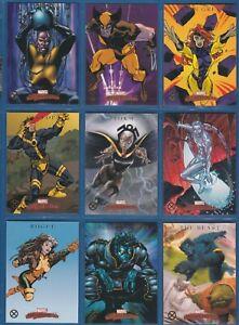 "2008 Sky Box Marvel Masterpieces 2 ""X-MEN"" Complete Sub-Set #X1-9"