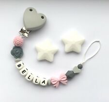 Personalised Dummy Clip - Silicone Clip - Pacifier Clip - Soother Clip - Pink