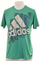 ADIDAS Mens Graphic T-Shirt Top Large Green Cotton  EX15