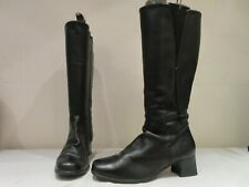 K BY CLARKS WIDER STYLE BLACK LEATHER LONG ZIP UP BOOTS BOOTIES UK 6 (3431)