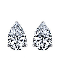 3.5 Ct Pear Cut Solid Sterling Silver Diamond Stud Earrings April Birthstone
