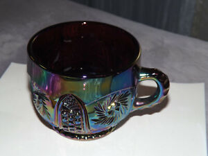 Vintage  L.E. Smith Amethyst Carnival Glass Galaxy Punch Cup