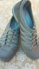 Skechers Women's Gray and Blue Slip On Sneakers Athletic Shoes US Size 5.5