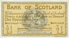 Scotland Bank of Scotland P-96 1 pound 1951 XF+