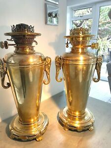 pair of antique brass elephant large oil lamps