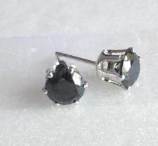 White Gold Plated Simulated Diamond Butterfly Stud Earrings Black Men Girl 6mm