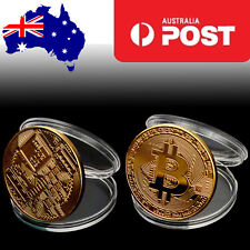 1PCS Gold Plated Bitcoin Bitcoins Bit Coin BTC with Case Gift Home Decoration AU