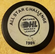 ALL STAR CHALLENGE 1986 GAME PUCK ONTARIO HOCKEY  LEAGUE OHL & LHJMQ JR. vintage