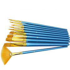 10Pc Nylon Hair Acrylic Watercolor Flabellum Pointed Tip Artists Paint Brush Set