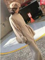 Womens Elegant Wool Knitted Sweater Cardigan+Wide Leg Pants Sets 2 Pic Suits New