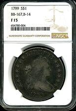 1799 $1 Draped Bust Silver Dollar F15 BB-167, B-14 NGC 654780-004