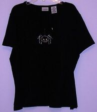 Classic Elements -T Shirt - Size 14/16 - 100% Cotton - Black - Spider Decoration