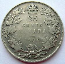 1936 DOT Twenty-Five Cents F Very Nice RARE Variety KEY George V Canada Quarter