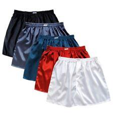 Mens Thai Silk Boxer Shorts 5 Pairs Black Grey, Navy Blue, Red, White Underwear