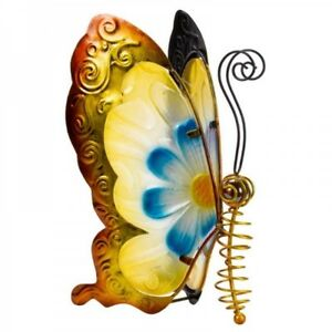 Smart Garden Large Metal and Glass Flower Power Butterfly Gold With Blue Design