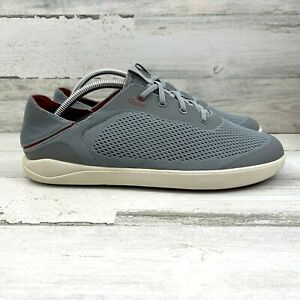 Olukai Moku Pae Boat Shoes Mesh No Tie Collapsible Heel Red Ochre Men's Size 10