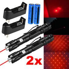 2x 990miles 650nm Red Laser Pointer Pen Amazing Star Beam Lazer Light+Batt+Char