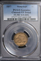 1857 FLYING EAGLE CENT - DIE CLASH - FS-901 S-8 (005) ** PCGS VF DETAIL Lot #696