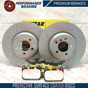 FOR BMW 3 4 SERIES FRONT PREMIUM OEM TEXTAR DIMPLED GROOVED BRAKE DISCS PADS SET