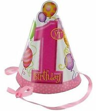 "1st Birthday ""Pink Balloons"" Party Hats with Ribbon Tie"