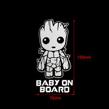 Baby On Board Cute Groot Car Truck Laptop Toolbox PET Decal Sticker 150mm*75mm