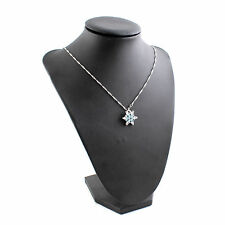 Valentine's Day Gift Blue Crystal Snowflake Frozen Flower Pendant Necklace