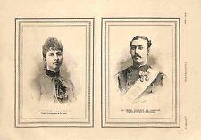 Portrait Princesse Marie d'Orléans/Valdemar de Danemark & Islande GRAVURE 1885