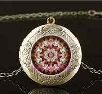 Vintage Mandala Photo Cabochon Glass Brass Chain Locket Pendant Necklace