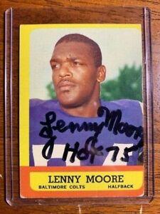 LENNY MOORE AUTOGRAPHED FOOTBALL CARD